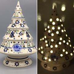 Boleslawiec Polish Pottery Christmas Tree Luminary Tealight Ho...
