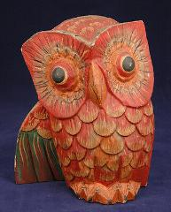 Owl Statue-Hand Carved Wood Sculpture-Red Feathers-Wide Eyes-F...