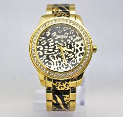 New Guess U0465L1 Crystals Bezel Animal Print Golden Stainless...