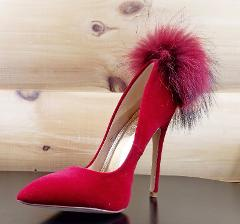 Liliana Maroon Wine Velvet Single Sole Pom Pom Fur Pointy Toe ...