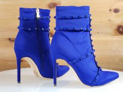So Me Billie Blue Pointy Toe High Heel Ankle Boot Cage Studded...