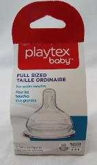 Playtex Baby 2 Silicone Nipples Full Sized Wider Mouths 3-6 Mo...
