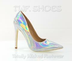 CR Priscilla Silver Hologram Pointy Toe Pump 4.5