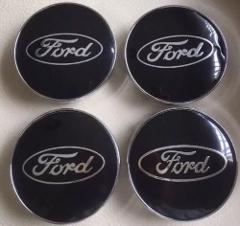 Set of 60mm Black FORD ALLOY WHEELS HUB CENTRE CAPS for Ford F...