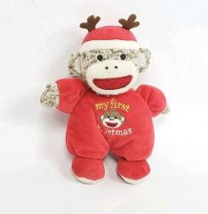 Magic Years Sock Monkey Rattle Plush Babys First Christmas Dol...