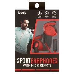 iLogic Sport Earphones With Mic & Remote (Red)