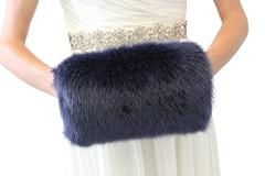 Bridal Faux Fur Hand Muff Navy Blue L Adult