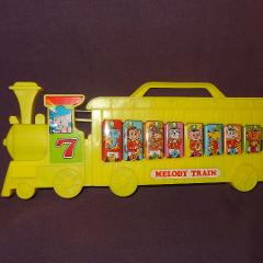 Vintage Melody Train Xylophone World Toy Animals Music Yellow