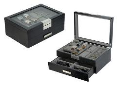 DecoreBay Modern Black wood Cufflink Case Ring and Jewelry Box