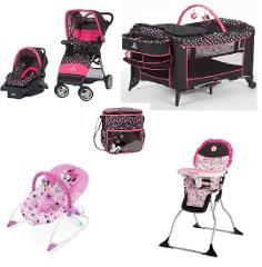Disney Minnie Mash Up Baby Gear Bundle with Bouncer & Diaper Bag