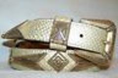 Cream and Gold Sparkle Leatherock Antique Brass Hardware Belt ...