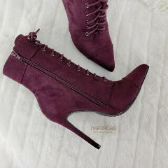So Me Kayla Burgundy Wine Red Point Toe Lace Up High Heel Ankl...