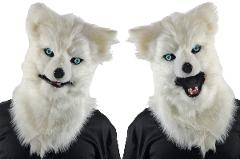 Wolf Animated Mask Winter is Coming Mouth White Adult Full Ove...