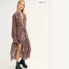 Free People Bella Donna Mauve Woods Velvet Duster XSmall XS $2...