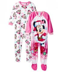 Minnie Mouse Pajamas Fleece Footed Holiday Christmas Gift Blan...