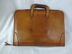 Vtg Renwick Saddle Leather Drop Handle Briefcase Messenger Doc...