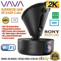 VAVA 2K Wi-Fi Dash Cam Car DVR Camera 2560x1440 30fps Video Se...