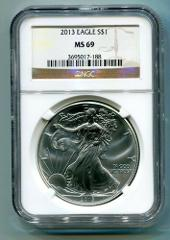 2013 AMERICAN SILVER EAGLE NGC MS69 BROWN LABEL PREMIUM QUALIT...