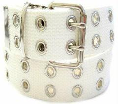 Canvas 2 Hole With Silver Grommet Belt In WHITE XS-XL Wide Web