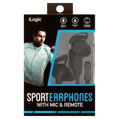 iLogic Sport Earphones With Mic & Remote (Blue)