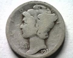 1921 MERCURY DIME ABOUT GOOD AG NICE ORIGINAL COIN FROM BOBS C...