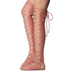 Cape Dusty Rose Open Lace Up Front Thigh High Gladiator Sandals