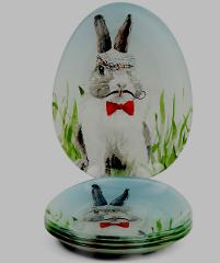 Golfer Bunny Plates Set of 4 Appetizer or Dessert Spring Easter