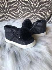 The Childrens Place Toddler Glitter Pom Pom Sneakers ~ Size 5