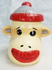 Cracker Barrel Sock Monkey Cookie Jar Christmas Fun 9