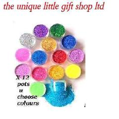 COSMETIC GLITTER POTS 6ML X 12 - fine prof qual- top up ur gl...