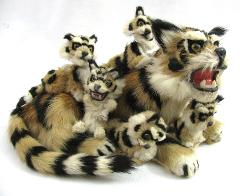 Vintage Real Genuine Fur Tiger Taxidermy Figure Bobble Head Cu...