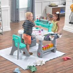 Step 2 Deluxe Desk & Stool Art Creativity Storage & Organizer ...