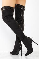 Lexi Black Studded Thigh High Pointy Toe High Heel Boots 7-11