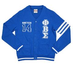 PHI BETA SIGMA FRATERNITY CARDIGAN SWEATER GOMAB 1914 WHITE BL...