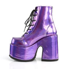 Demonia Camel Stacked Purple Hologram Platform Goth Punk Ankle...