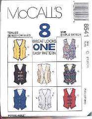 8541 UNCUT McCalls SEWING Pattern Misses Lined Vest Waistcoat ...