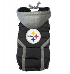 Pittsburgh Steelers NFL LEP Dog Hoodie Puffer Vest, Black Size...