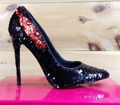 Nelly Bernal Famous Black Red Reversible Sequin Pointy Toe Pum...