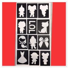 96 Mini LOL Dolls stencils top up ur glitter tattoo kit facep...