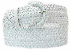 Wide White Braided Belt for Women Leather 3