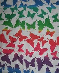 Wild BUTTERFLY Flannel Fabric Material BTY Red Blue Yellow Gre...