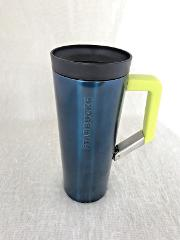 Starbucks Travel Mug Clip On Handle Blue Yellow Double Wall Va...