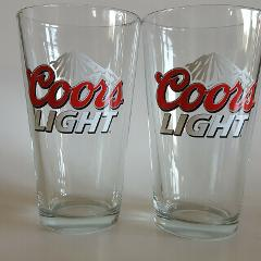 2 COORS LIGHT Beer Glasses Set of 2 Bar Barware Drinking Rocky...