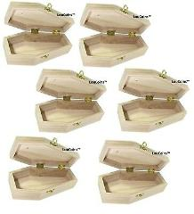 Package of 6 Decorative Unfinished Wood Funeral Coffins For H...