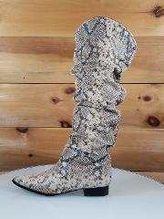 CR Beige Multi Snake Pointy Toe Slouchy Wide Calf Flat Boot US...