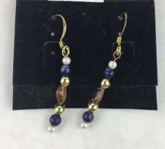 Blue Sodalite/Dumortierite and Brown Stone Handmade Dangle Ear...