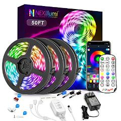 Nexillumi 50ft LED Strip Lights with IR Remote Ultra-Long LED ...