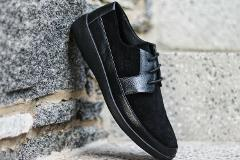 Johnny Famous Bally Style Men's Black Suede Casual Oxford Shoes