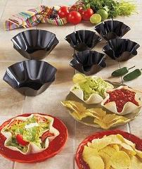 FOUR Mini Steel Tortilla Bowl Bakers: Petite Taco Shell Makers...