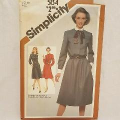 Misses Dress Collar Cuffs Bow Sewing Pattern SImplicity 5134 S...